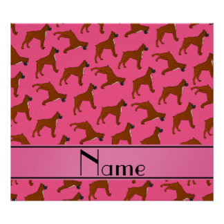 Personalized name pink boxer dog pattern poster