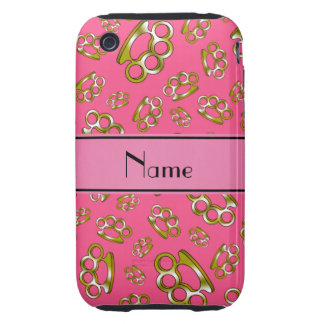 Personalized name pink brass knuckles iPhone 3 tough cases