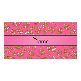 Personalized name pink brass knuckles photo card