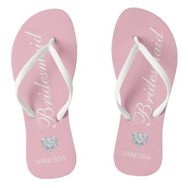 Beach Themed Personalized Name Pink Bridesmaid Diamond Heart Flip Flops