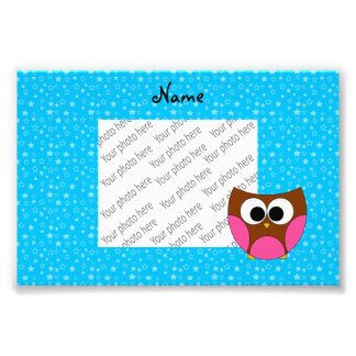 Personalized name pink brown owl blue stars photo art