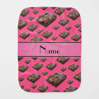 Personalized name pink brownies burp cloth