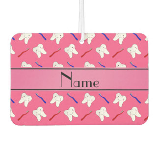 Personalized name pink brushes and tooth pattern