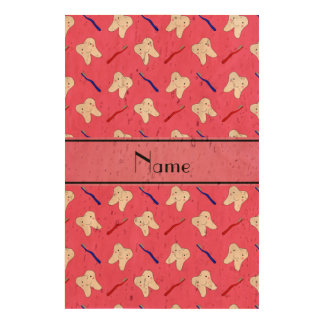 Personalized name pink brushes and tooth pattern photo cork paper