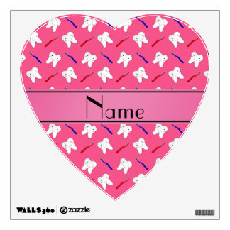 Personalized name pink brushes and tooth pattern wall skin