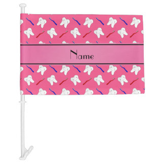 Personalized name pink brushes and tooth pattern car flag