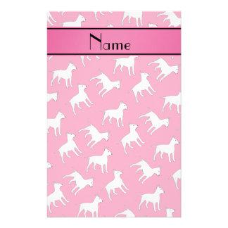 Personalized name pink bull terrier dogs stationery