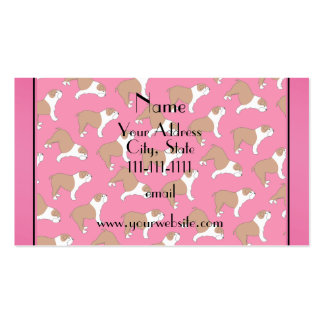 Personalized name pink Bulldog Double-Sided Standard Business Cards (Pack Of 100)