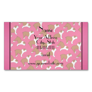 Personalized name pink Bulldog Magnetic Business Cards (Pack Of 25)