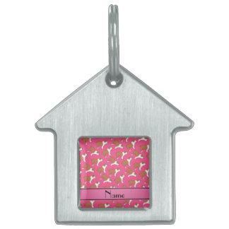 Personalized name pink Bulldog Pet Tag