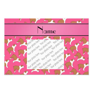 Personalized name pink Bulldog Photo Print