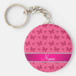 Personalized name pink butterflies key chain