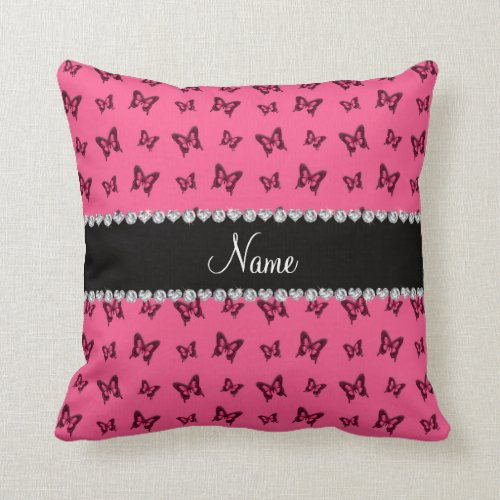 Personalized name pink butterfly pattern throw pillow