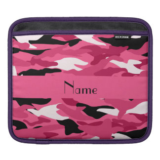 Personalized name pink camouflage iPad sleeves