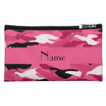Personalized name pink camouflage makeup bag