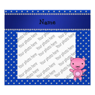 Personalized name pink cat blue diamonds photographic print