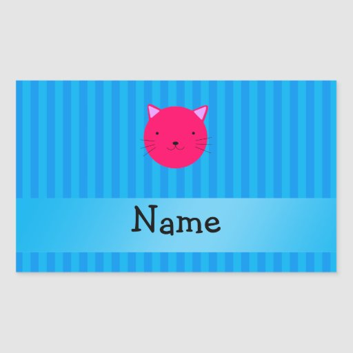 Personalized name pink cat face blue stripes rectangular stickers