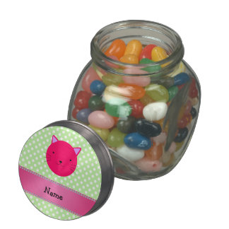 Personalized name pink cat face green polka dots glass candy jar