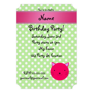 Personalized name pink cat face green polka dots custom invitation