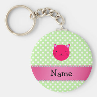 Personalized name pink cat face green polka dots keychain