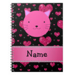 Personalized name pink cat face pink glitter heart spiral notebook