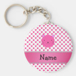 Personalized name pink cat face pink hearts basic round button keychain