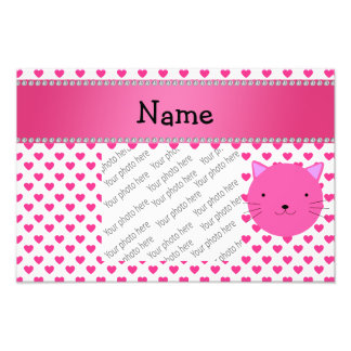 Personalized name pink cat face pink hearts photo