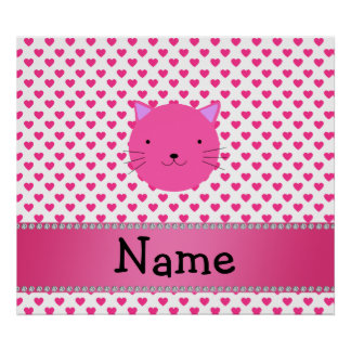 Personalized name pink cat face pink hearts poster