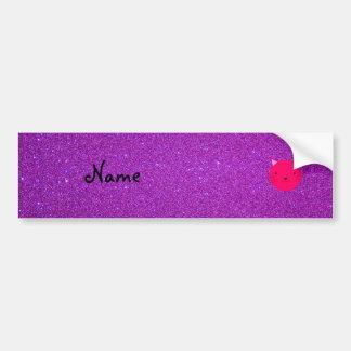 Personalized name pink cat face purple glitter bumper stickers