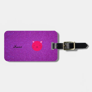 Personalized name pink cat face purple glitter luggage tag