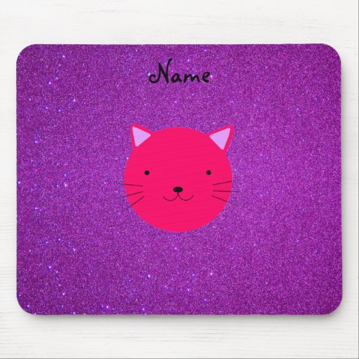Personalized name pink cat face purple glitter mouse pad