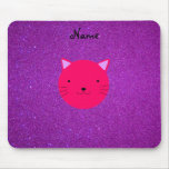 Personalized name pink cat face purple glitter mouse pads