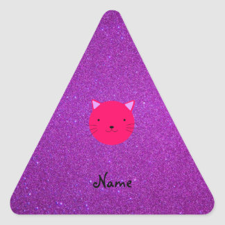 Personalized name pink cat face purple glitter triangle sticker