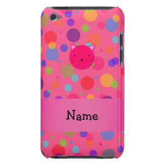 Personalized name pink cat face rainbow polka dots Case-Mate iPod touch case