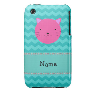 Personalized name pink cat face turquoise chevrons Case-Mate iPhone 3 cases