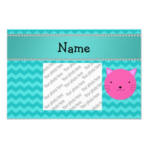 Personalized name pink cat face turquoise chevrons art photo