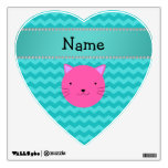 Personalized name pink cat face turquoise chevrons wall decal