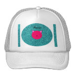 Personalized name pink cat face turquoise glitter trucker hats