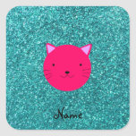 Personalized name pink cat face turquoise glitter stickers
