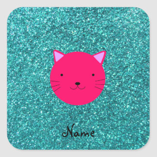 Personalized name pink cat face turquoise glitter square sticker