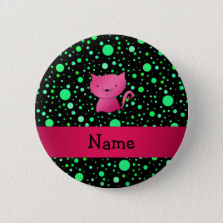 Personalized name pink cat green polka dots button