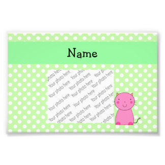 Personalized name pink cat green polka dots art photo
