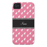 Personalized name pink cat pattern Case-Mate iPhone 4 cases