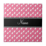 Personalized name pink cat pattern ceramic tiles