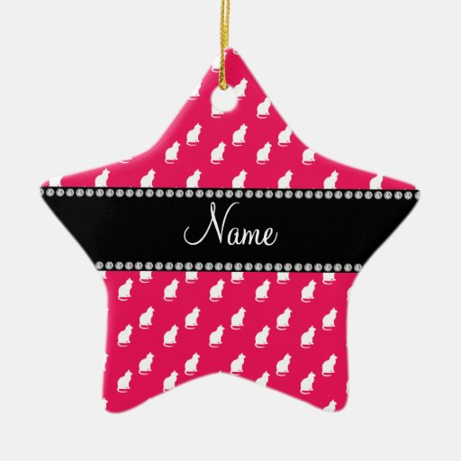 Personalized name pink cat pattern Double-Sided star ceramic christmas ornament