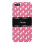 Personalized name pink cat pattern iPhone 5 covers
