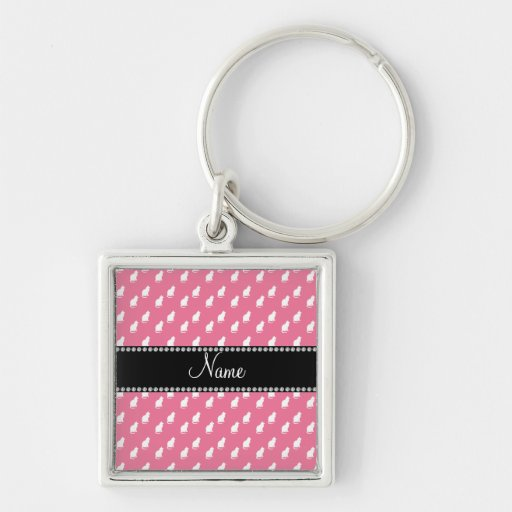 Personalized name pink cat pattern keychain