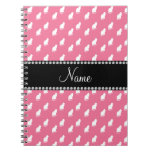 Personalized name pink cat pattern notebooks
