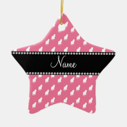 Personalized name pink cat pattern ornaments