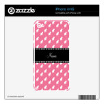 Personalized name pink cat pattern skin for iPhone 4